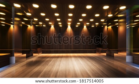 three-dimensional color background for wooden TV studio 3d rendering Photo stock ©