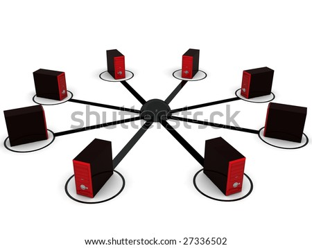three dimensional computer networking with white background - stock photo