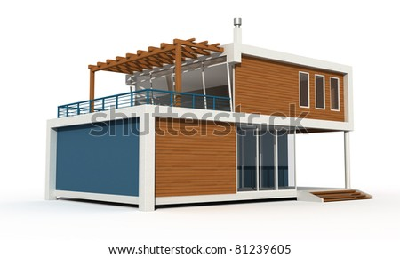 three-dimensional  contemporary  house on white background exclusive design - rendering