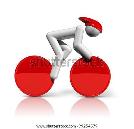 three dimensional cycling track symbol, sports series - stock photo