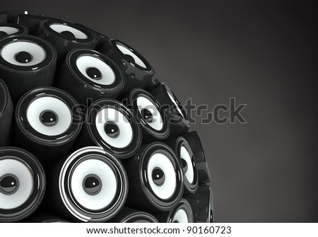 Three dimensional 3d sphere speakers. Isolated on black background