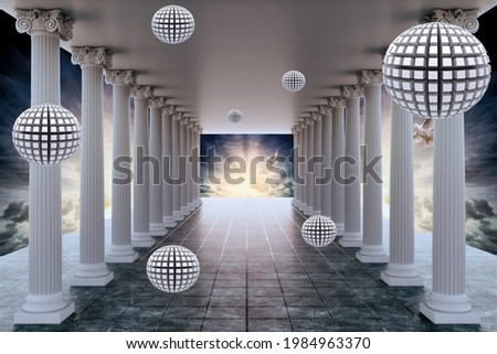 Three-dimensional display of columns inside the sky with a three-dimensional entrance and decorated balls in a three-dimensional shape  Stockfoto ©