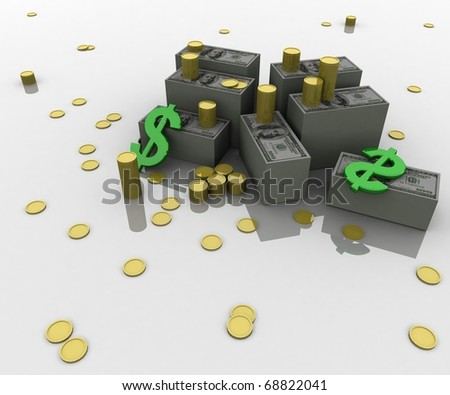three-dimensional, Dollar, gold coins and dollar symbols lie on white glossy plane