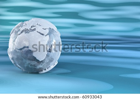 Three-dimensional earth from ice on blue background. 3d