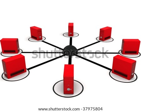three dimensional global network with white background
