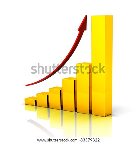 Three dimensional golden bars and red arrow