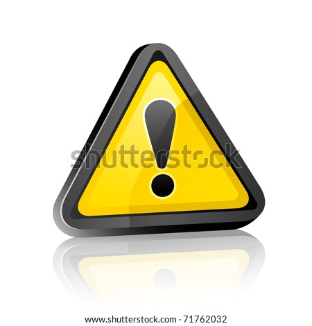 three-dimensional Hazard warning attention sign with exclamation mark  on white background with reflection. Bitmap copy my vector ID 59914405