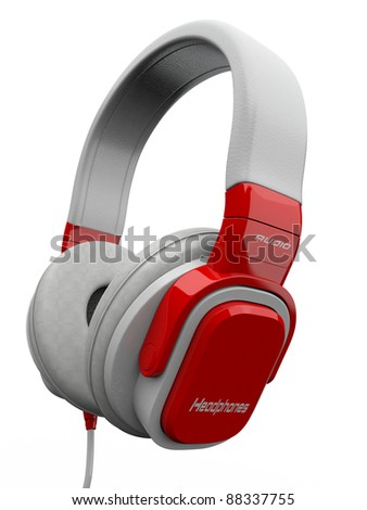 Three-dimensional headphones on white isolated background. 3d