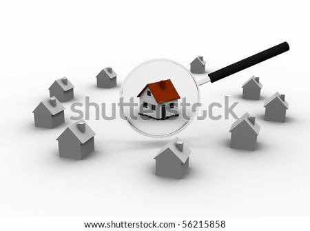 Three-dimensional house and magnifying glass. as a symbol of the Real Estate