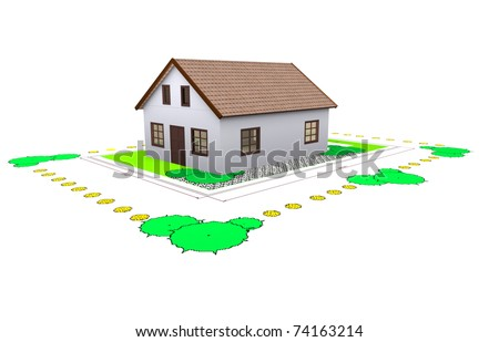 Three dimensional house plan standing on two dimensional for Three dimensional house plans
