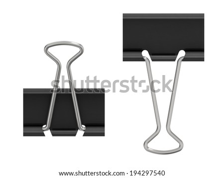 Three-dimensional illustration of rpaper clip isolated on white background