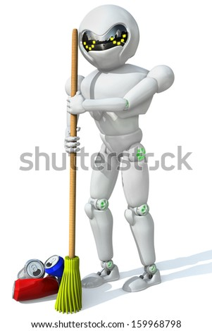 three-dimensional image of a robot cleaner with a broom in his hand a bunch of the cleaning aluminum cans on a white background.