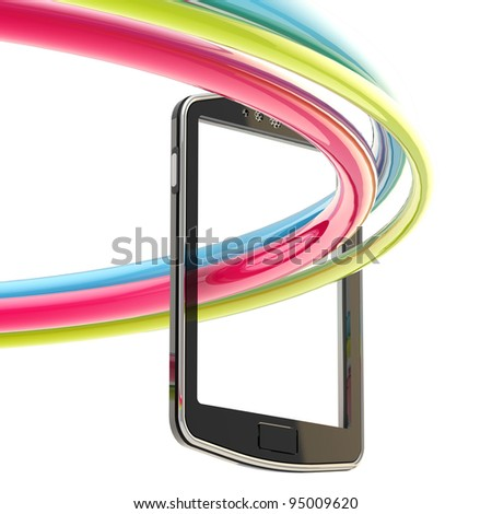 Three-dimensional image of concept mobile phone: glossy colorful stripes flying out of the screen