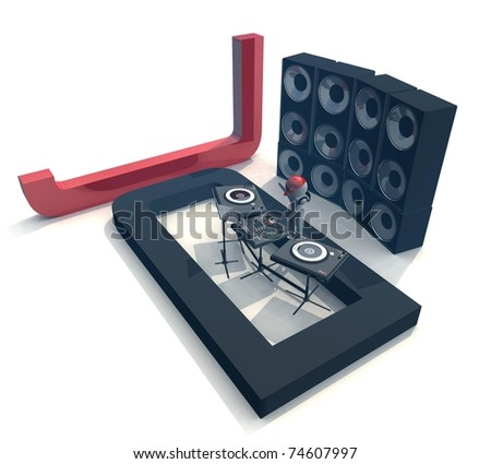 three-dimensional isolated DJ,  Equipment, letters