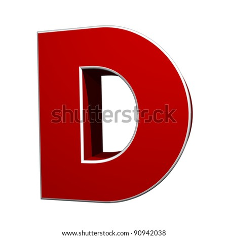 three-dimensional letter D isolated on white background