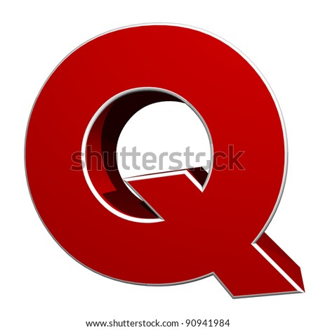 three-dimensional letter Q isolated on white background
