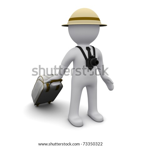 Three-dimensional man in a hat and a suitcase in the image of a tourist. - stock photo