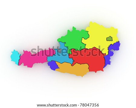 Three-dimensional map of Austria on white isolated background. 3d