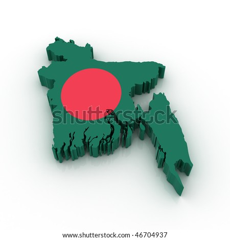 Three dimensional map of Bangladesh in Bangladesh flag colors.