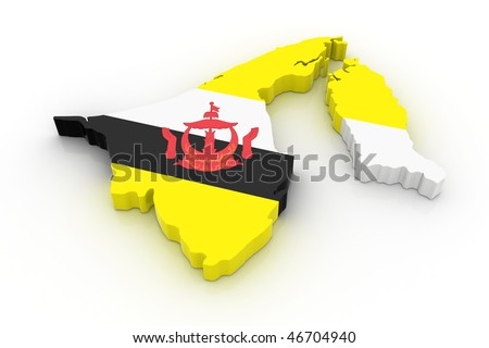 Three dimensional map of Brunei in Brunei flag colors.