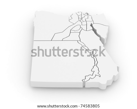Three-dimensional map of Egypt on white isolated background. 3d