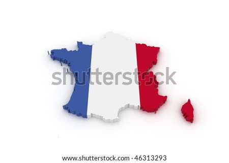 Three dimensional map of France in French flag colors.