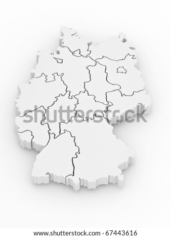 Three-dimensional map of Germany on white isolated background. 3d