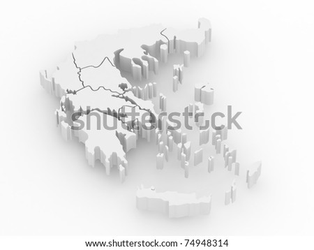Three-dimensional map of Greece on white isolated background. 3d