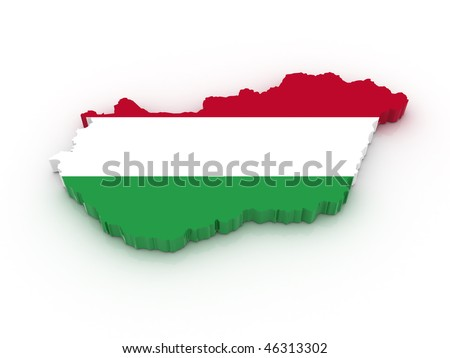 Three dimensional map of Hungary in Hungarian flag colors.