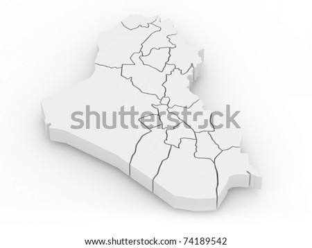 Three-dimensional map of Iraq on white isolated background. 3d - stock photo