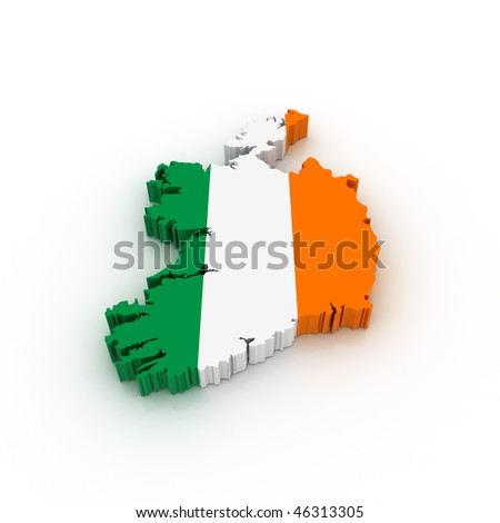 Three dimensional map of Ireland in Irish flag colors. - stock photo