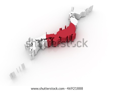 Three Dimensional Map Of Japan In Japanese Flag Colors ...
