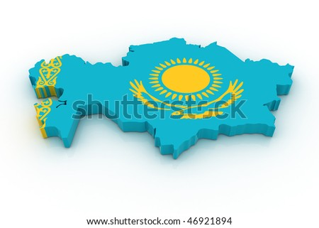 Three dimensional map of Kazahstan in Kazahstan flag colors.