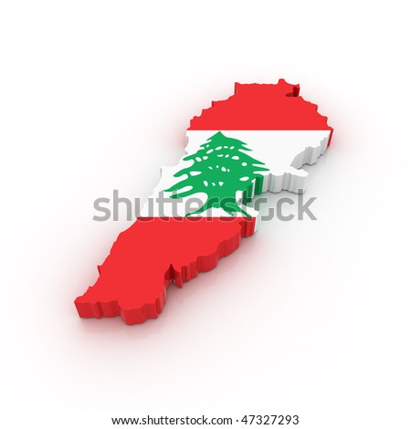 Three dimensional map of Lebanon in Lebanese flag colors.