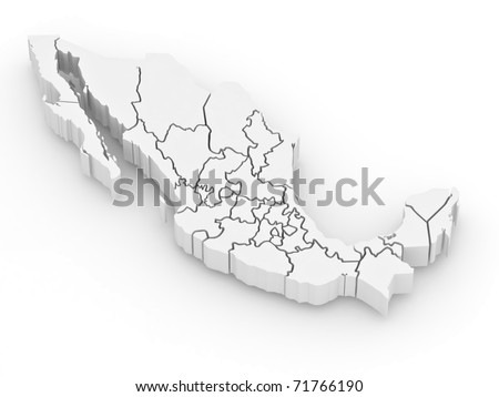 Three-dimensional map of Mexico on white isolated background. 3d