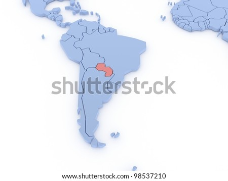 Three-dimensional map of Paraguay isolated. 3d
