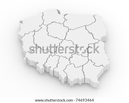 Three-dimensional map of Poland on white isolated background. 3d