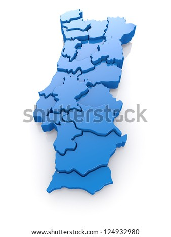 Three-dimensional map of Portugal on white background. 3d