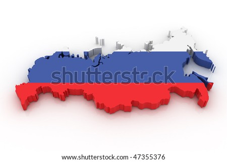 Three dimensional map of Russia in Russian flag colors.