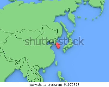 Three-dimensional map of South Korea isolated. 3d