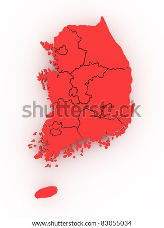 Three-dimensional map of South Korea on white isolated background. 3d
