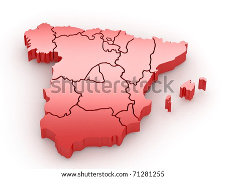 Three-dimensional map of Spain on white isolated background. 3d