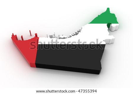 Three dimensional map of United Arab Emirates in United Arab Emirates flag colors.