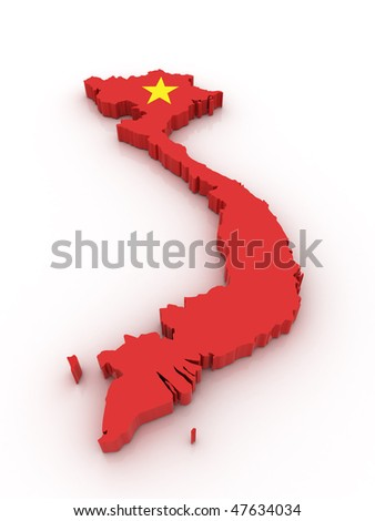Three dimensional map of Vietnam in Vietnamese flag colors.