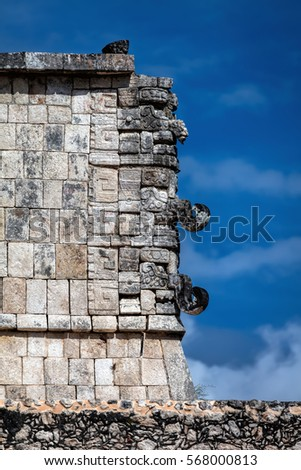 Three-dimensional masks at the corner of the Thousand Warriors temple in Chichen Itza, believed to be the Ancient Mayan god of rain and lightning Chac. #568000813