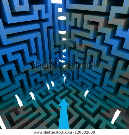 three dimensional maze wall structure illustration