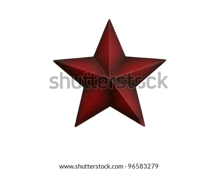 Three-dimensional metal red star isolated on white background