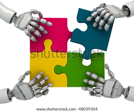 Three-dimensional models of hands of the abstract robot collecting puzzles