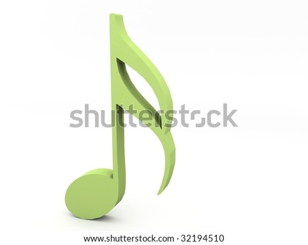three dimensional musical notation in green color