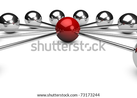 Three dimensional network concept on white background with a red sphere